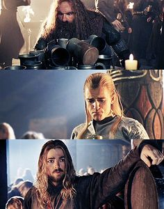 """Legolas: """"Why can it not be my father's wine???"""" Eomer: """"What, is something... distasteful?"""" Gimli: """"Durin's Beard! How much ale is this?!"""""""