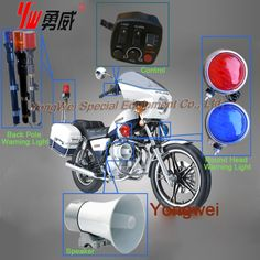 #Warning Equipment on #PoliceMotorcycle  There are 7 pcs of Warning Equipment on a police motorcycle. one Back Pole Warning Light(Red, Amber,Blue etc. colors are available) two Round/Square Head Warning Light  two speakers and one control device  www.facebook.com/ledwarningligthbar Email:starvalley429@gmail.com Andrew