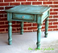 Distressed Turquoise Side Table by TheAfterPicture on Etsy, $148.00