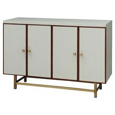 Shop the Harrison Mid Century Modern Cream Scale Patterned Faux Shagreen Sideboard Buffet and other Buffets & Sideboards at Kathy Kuo Home Glass Bedroom Furniture, Metal Furniture, Mirrored Sideboard, Sideboard Buffet, Boutique Homes, Build Your Dream Home, Wood Trim, Interior Design Services, Adjustable Shelving