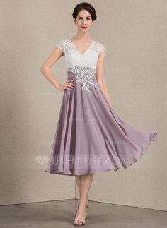 Vestidos princesa/ Formato A Decote V Comprimento médio Tecido de seda Renda Vestido para a mãe da noiva