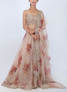 Shop Floral Organza Lehenga from Pleats | Organza . Pleats specialises in lehengas and other types of Indian bridal wear including Anarkalis and