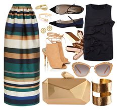 """Stripes + Gold"" by cherieaustin ❤ liked on Polyvore featuring Rosetta Getty, Armitage Avenue, ADIN & ROYALE, Miu Miu, TIBI, Lipsy, Chloé and Tory Burch"