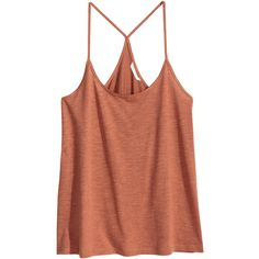 Top aus geflammtem Jersey 4,99 ($5.99) ❤ liked on Polyvore featuring tops, shirts, blusas, sleeveless tops, tanks, brown tank top, brown tank, racer back shirt, racerback top and racerback tank