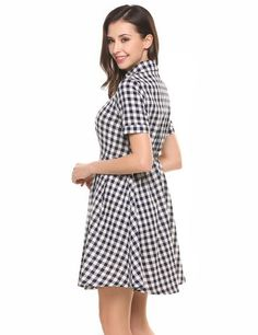 afca0f49dc0 Blue Short Sleeve Half Button Plaid Shirt Casual Dress