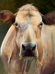 Cow+Painting++Bridget+Canvas+Print+of+an+by+ArtPaperGarden+on+Etsy,+$45.00