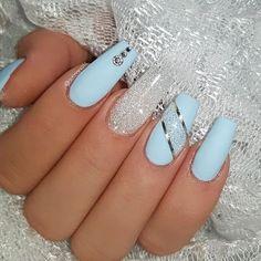 Ice Blue and Diamond jet_set_beauty_nails delizianails . - Ice Blue and Diamond jet_set_beauty_nails delizianails - Blue Gel Nails, Blue Glitter Nails, Blue Coffin Nails, Light Blue Nails, Blue Acrylic Nails, Summer Acrylic Nails, Purple Nails, Stiletto Nails, Spring Nails
