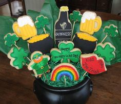 St. Paddy's Day St. Paddy's Day Cookie bouquet made for a silent auction fundraising event in my school district held this evening. I'm waiting... #st-patricks-day #shamrock #green #lucky #irish #paddy #stpaddys #leprechaun #pot-of-gold #cakecentral