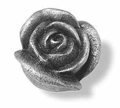 LOT OF 10 Solid Pewter Rose Flower Knobs FREE EXPEDITED SHIPPING