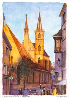 """Eglise St Pierre Strasbourg.  Six o'clock on an autumn evening in Strasbourg, France and the setting sun lights the steeples of l'Eglise St Pierre-le-Vieux (St Peter the Older Church) on la Grande Rue. Watercolour painting by Dai Wynn on 300 gsm smooth surface Arches french cotton paper. 29cm X 21cm (11.75"""" X 8.25"""") approximately.  Available for sale at $290."""