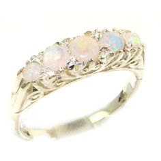 Luxury Solid White 9K Gold Natural Opal Victorian Style Eternity Ring - Finger Sizes 5 to 12 Available
