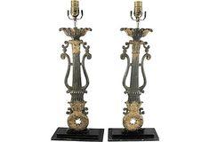 19th-C. Painted Iron Lamps, Pair on OneKingsLane.com