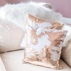 Lustrous Gold Mermaid Sequin Pillow