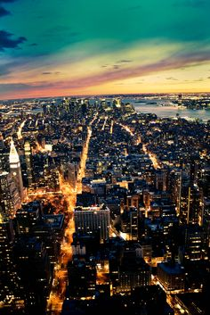 NYC . New York City . NY . Sunset .