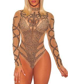 COSIVIA Sexy Body Femme Strass Bustier Faux Maille Manches Longues Bodysuit  Justaucorps Débardeur (Kaki Noir e43c2bd0d94