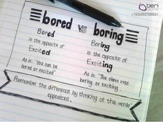 And here's your tip of the week, courtesy of our - Bored vs Boring. is caring! Spelling And Grammar, Copywriting, Creative Words, Branding, Brand Management, Identity Branding