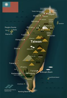 By Mike Lemanski from a collection of illustrations for a Monocle special on Taiwan, including a map of the island