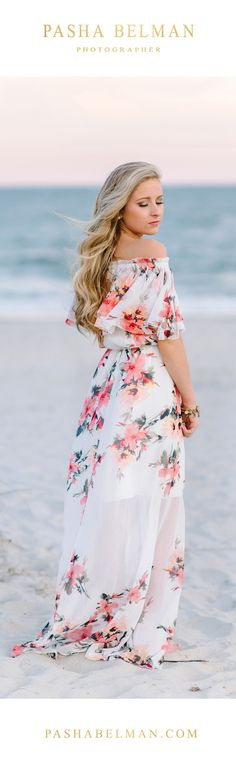 If you would like to go for very romantic look for your Senior Beach Photos, choose an airy silk dress in a neutral color or soft floral patterns. Click on the photos to see more senior girl outfit ideas.