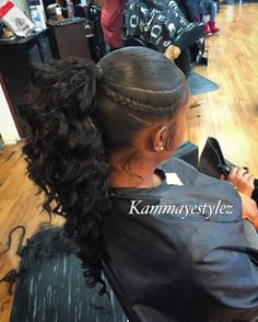 "518 Likes, 9 Comments -  QueenPin (708)368-9202 (@kammayestylez) on Instagram: ""Baby hairs on fleek Ladies ask about my specials.. Ponytails including hair $125 Quick weave…"""