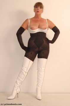 Nylons, Sexy Older Women, Thigh High Boots, Thigh Highs, Shapewear, White Jeans, Sporty, Lingerie, Lady
