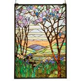 Found it at Wayfair - Iris Tiffany Magnolia Stained Glass Window