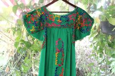 Green With Multi colored Mexican Wedding Dress by CasaOtomi