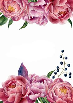 hand drawn vintage frame with peony, leaves and berries. isolated on white background. Flower Backgrounds, Flower Wallpaper, Wallpaper Backgrounds, Wallpapers, Invitation Floral, Floral Wedding Invitations, Photos Islamiques, Citations Photo, Citation Art