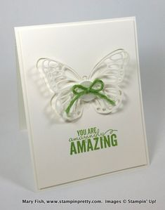 SU BUTTERFLY THINLITS, and Wild Wasabi on white.  Stampin up stampin' up! stamping stampinup mary fish pretty painted petals