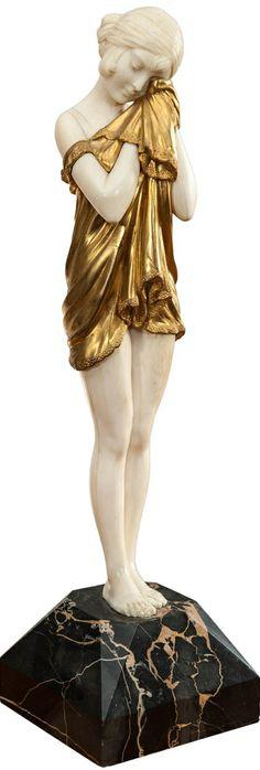 Demetre Chiparus (1888-1950) Chryselephantine Bronze Dore Sculpture