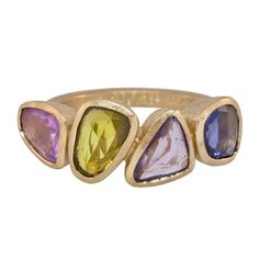 Todd Reed 4-Stone Multi-Colored Sapphire and 18K Rose Gold Ring