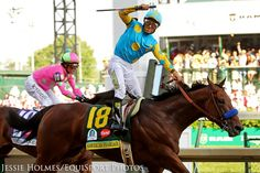 Victor Espinoza celebrates as American Pharoah takes the 2015 Kentucky Derby.  Victor also won on California Chrome in 2014.