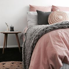 @stylingbytiffany on Instagram: bedroom pink knit throw side table decor bed