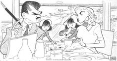 Al Hirschfeld ~ Ernie Kovacs and Edie Adams with children on a train Ernie Kovacs, Celebrity Caricatures, Play S, Black And White Portraits, Old Dogs, Pen And Paper, Old Hollywood, Comedians, Cool Art