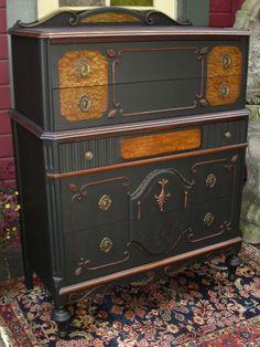 Black antique nouveau dresser
