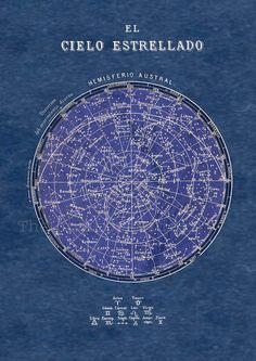 Celestial Chart Stars Southern Hemisphere by TheCuratorsPrints