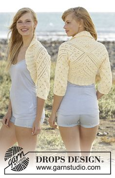 """Lemon Cross - Knitted DROPS bolero worked as a square with lace pattern in """"Muskat"""". - Free pattern by DROPS Design Crochet Bolero, Lace Bolero, Knit Shrug, Knit Crochet, Tunisian Crochet, Crochet Granny, Crochet Baby, Drops Design, Free Knitting Patterns For Women"""
