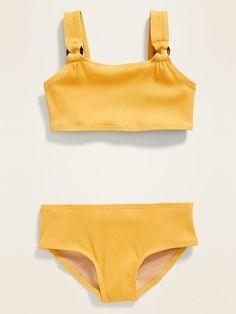 Textured Bikini Swim Set for Girls Yellow Bathing Suit, Bathing Suits For Teens, Summer Bathing Suits, Cute Bathing Suits, Swimsuits For Tweens, Bikinis For Teens, Cute Swimsuits, Baby Swimsuit, Country Girls Outfits