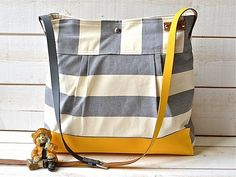BEST SELLER Diaper bag / Messenger bag STOCKHOLM Gray geometric nautical striped Leather / Featured on The Martha Stewart. $129.00, via Etsy.