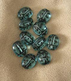Ladybug Teal Czech Glass Beads by TheGingerPup on Etsy