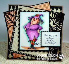 Art Impressions Ai Halloween ... Witch Wanda Set (sku# 4311).  Handmade spooky card.