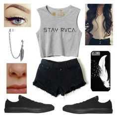 """""""99th set ♡"""" by melanietorresco ❤ liked on Polyvore featuring Converse, RVCA, Retrò and Bling Jewelry"""