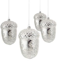 MarthaHoliday™ Into the Woods Set of 4 Glass Acorn Christmas ...
