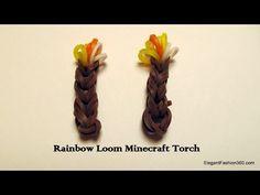▶ Rainbow Loom Minecraft Torch charm - YouTube