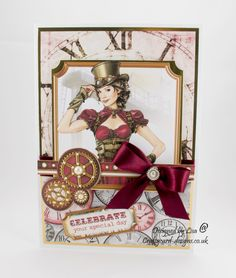 Handmade Card : This steampunk card has been made using Steam Age cd rom by Debbi Moore Designs. Debbie Moore, Steampunk Cards, Card Designs, Steam Punk, Creative Inspiration, Stamping, Card Ideas, Christmas Cards, Card Making
