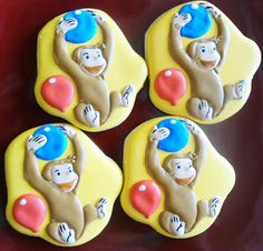 Yesterday the time finally came. I created these cookies . Cookies For Kids, Cut Out Cookies, Sugar Cookies, First Birthday Parties, First Birthdays, Cartoon Cookie, Curious George Birthday, Fun Hobbies, Cookie Decorating