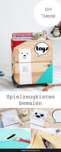 DIY Anleitung: Bemale Spielzeugkisten mit Acrylfarbe. Eine tolle Idee für Aufbewahrung im Kinderzimmer!