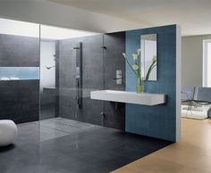 awesome Blue Bathroom Decorating Ideas,Get many inspirational ideas about how to decorate your bathroom in an attractive blue color for a combination of freshness and elegance. Public Bathrooms, Grey Bathrooms, Beautiful Bathrooms, Modern Bathroom, Small Bathroom, Blue Wall Colors, Douche Design, Teal Kitchen, Bathtub Shower