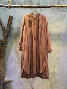 Vertical Stripes Loose Cotton Linen Dress Asymmetrical Shirt Dress #dress #shirt #loose #cottonlinen #stripes