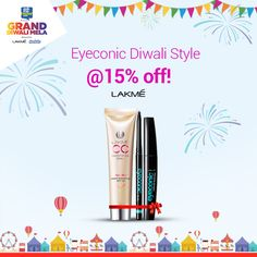 Lakme is here to glam up your Diwali. Get the iconic glam look this festive season @ 15% off at the #GrandDiwaliMela