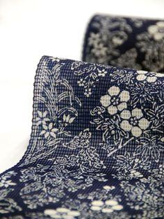 【夏きもの01】の生地のアップです。涼しそうでしょ?#kimono